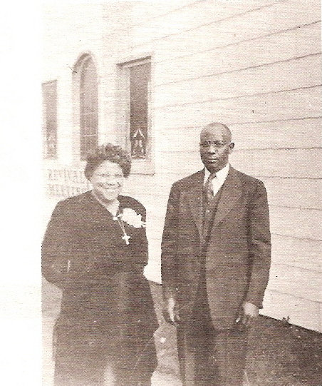 Bishop E. F. and Mother O. B. Morris at Tacoma Church